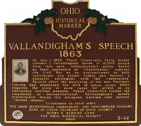 Historic Marker for Vallindingham's Speech