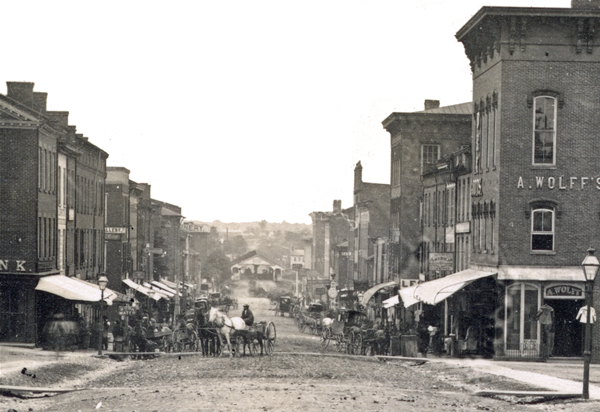 South Main Street circa 1867, from the Bob Denzer Collection